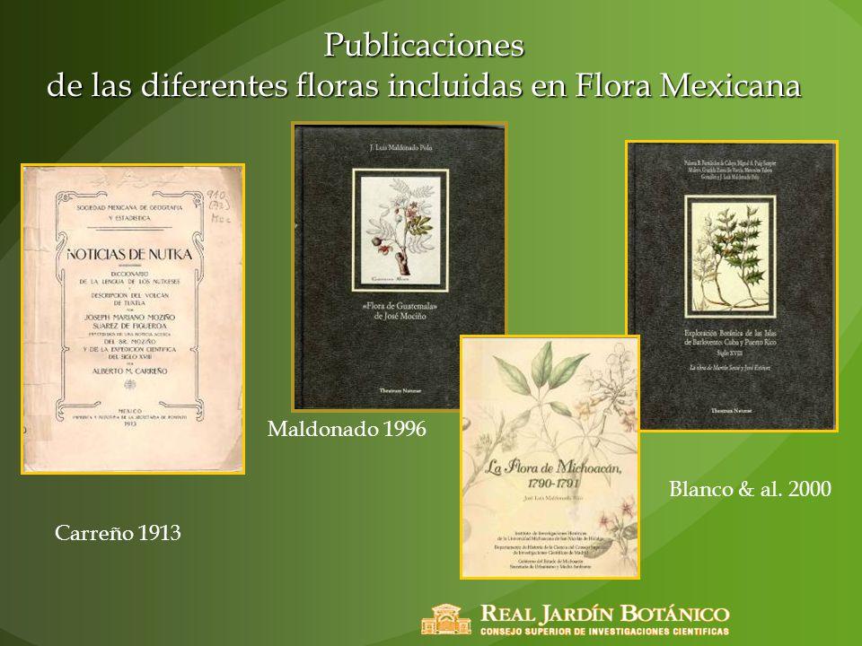 Publicaciones de las diferentes floras incluidas en Flora Mexicana