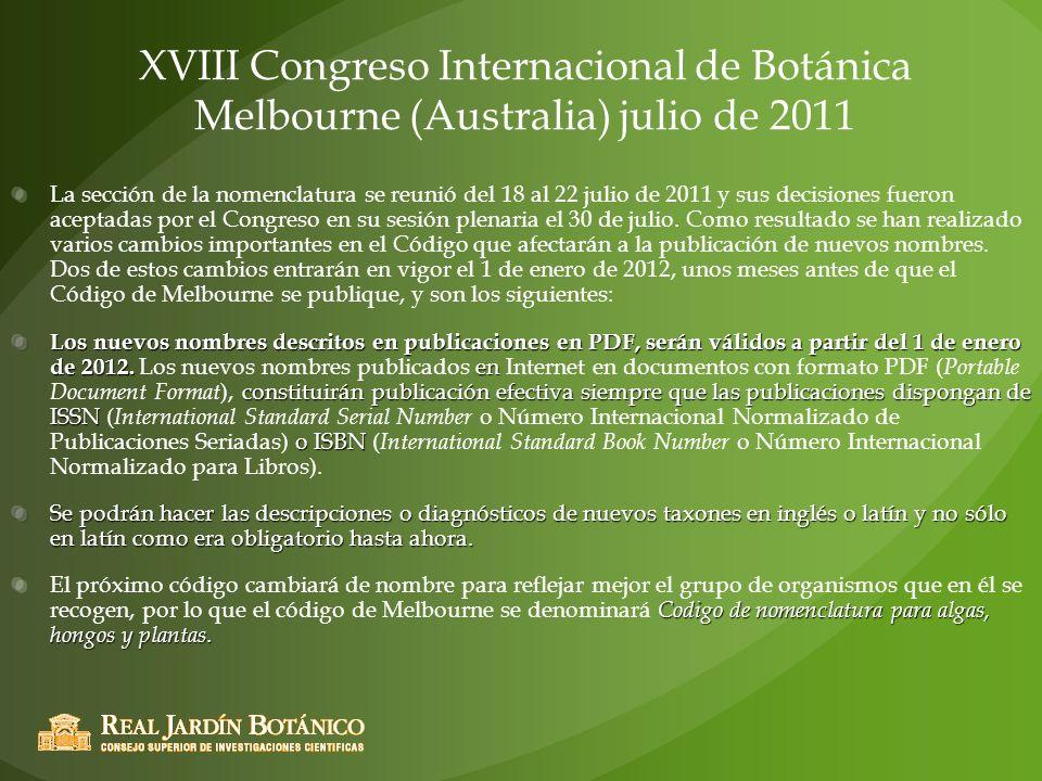 XVIII Congreso Internacional de Botánica Melbourne (Australia) julio de 2011