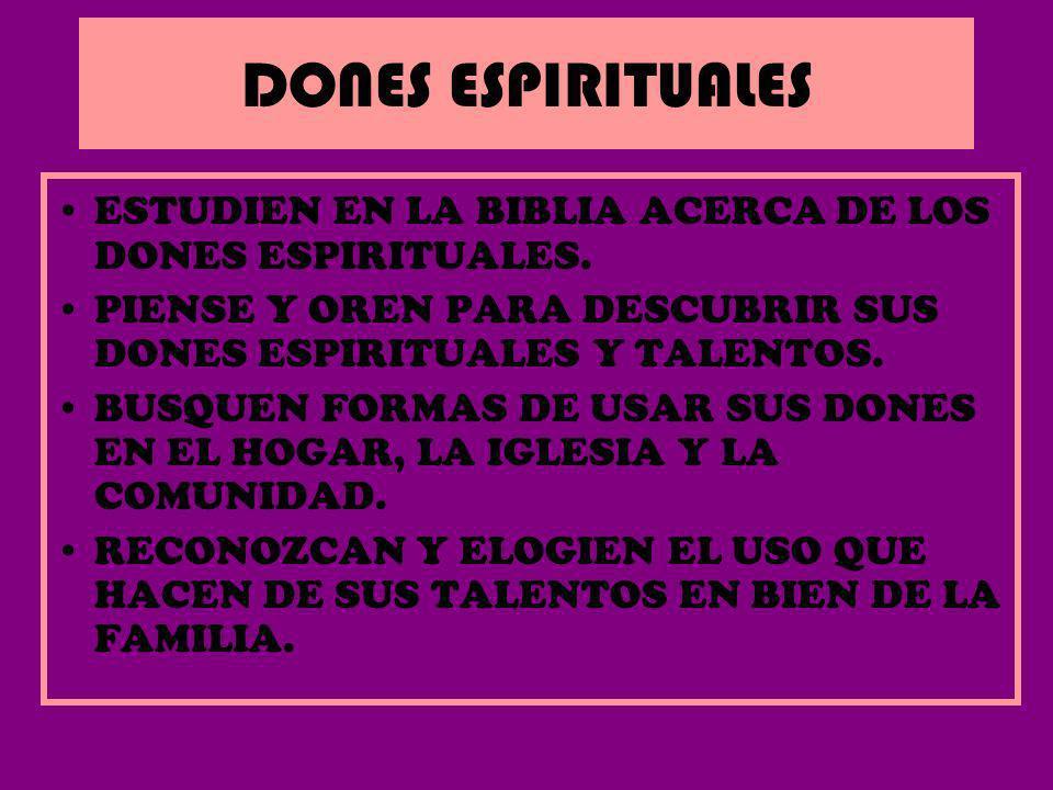 DONES ESPIRITUALESESTUDIEN EN LA BIBLIA ACERCA DE LOS DONES ESPIRITUALES. PIENSE Y OREN PARA DESCUBRIR SUS DONES ESPIRITUALES Y TALENTOS.
