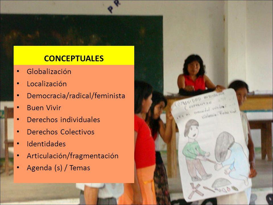 CONCEPTUALES Globalización Localización Democracia/radical/feminista