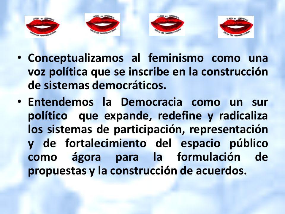 Conceptualizamos al feminismo como una voz política que se inscribe en la construcción de sistemas democráticos.