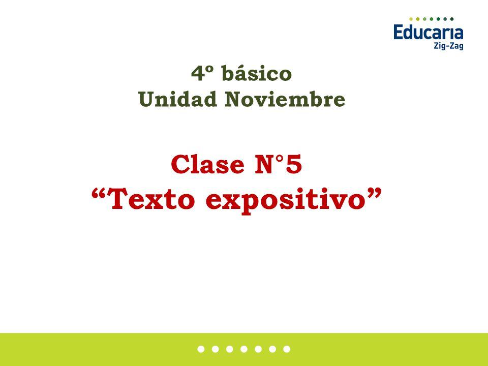 4º básico Unidad Noviembre Clase N°5 Texto expositivo