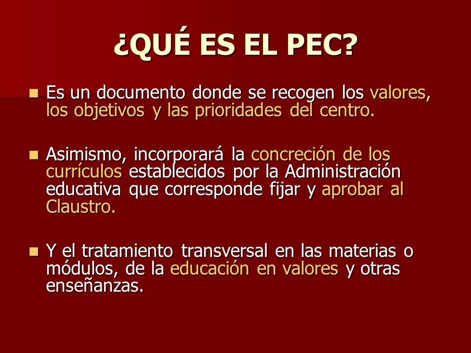 ¿QUÉ ES EL PEC Es un documento donde se recogen los valores, los objetivos y las prioridades del centro.
