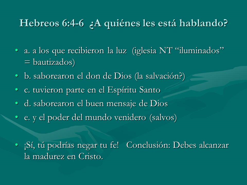 Hebreos 6:4-6 ¿A quiénes les está hablando