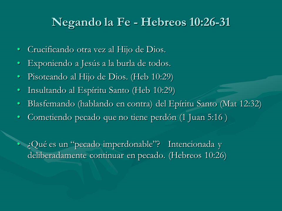 Negando la Fe - Hebreos 10:26-31