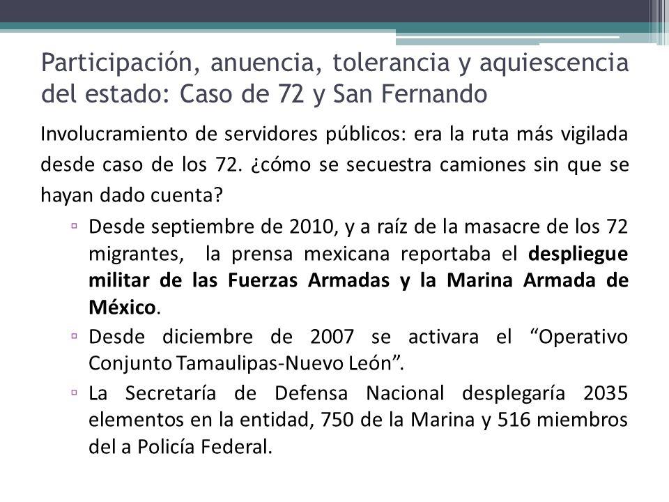 Participación, anuencia, tolerancia y aquiescencia del estado: Caso de 72 y San Fernando