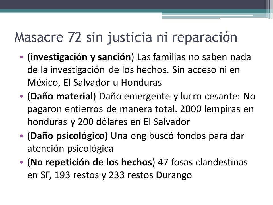 Masacre 72 sin justicia ni reparación