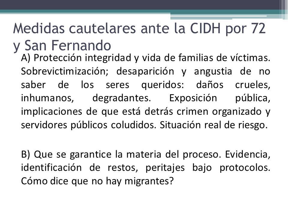 Medidas cautelares ante la CIDH por 72 y San Fernando