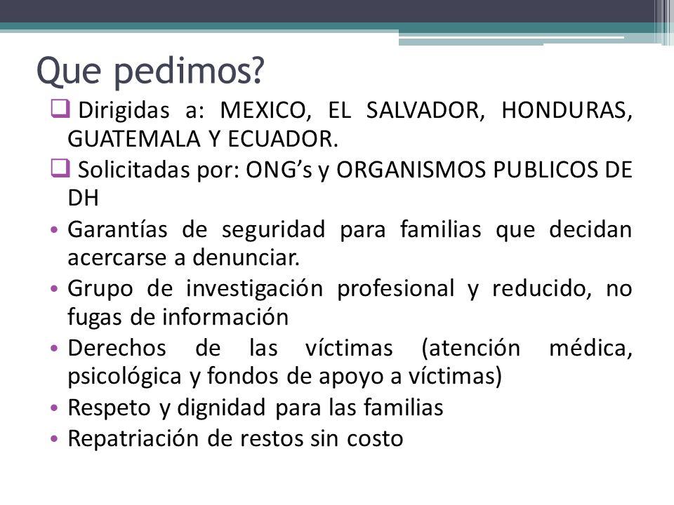 Que pedimos Dirigidas a: MEXICO, EL SALVADOR, HONDURAS, GUATEMALA Y ECUADOR. Solicitadas por: ONG's y ORGANISMOS PUBLICOS DE DH.