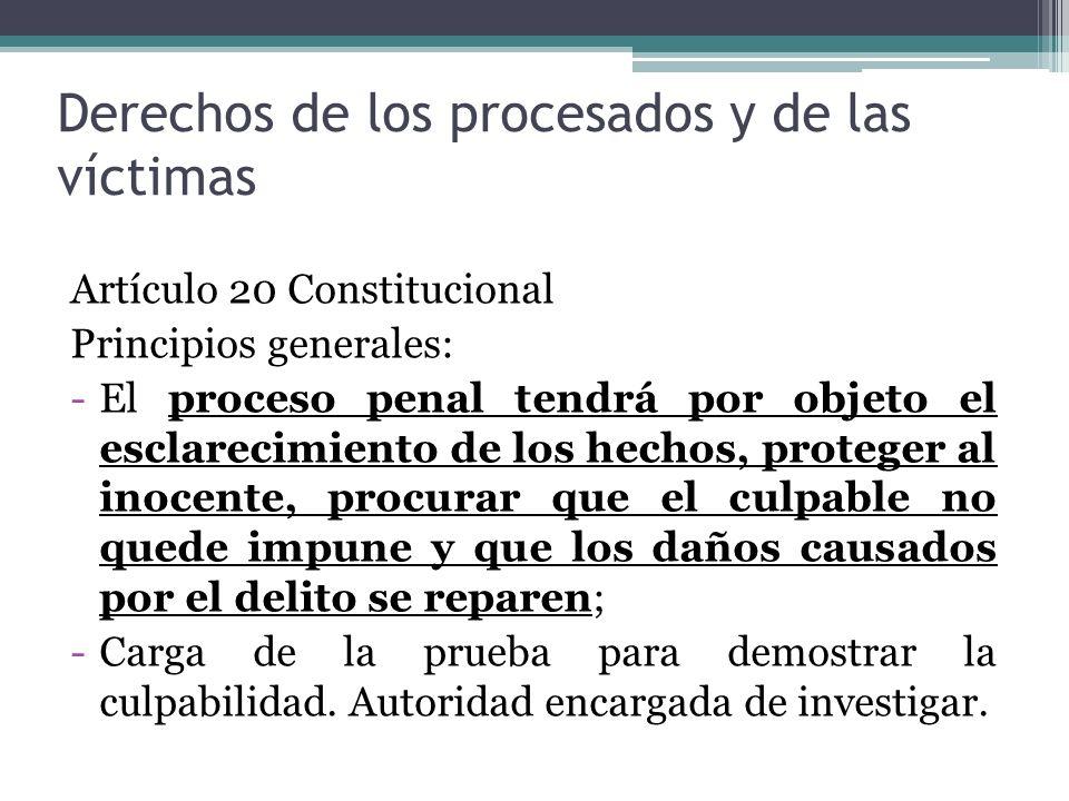 Derechos de los procesados y de las víctimas