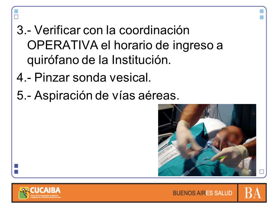 3.- Verificar con la coordinación OPERATIVA el horario de ingreso a quirófano de la Institución.
