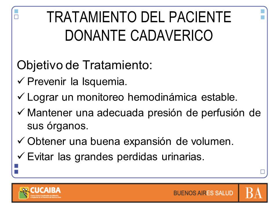 TRATAMIENTO DEL PACIENTE DONANTE CADAVERICO