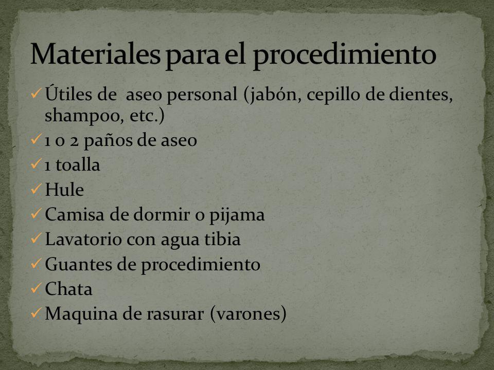 Materiales para el procedimiento