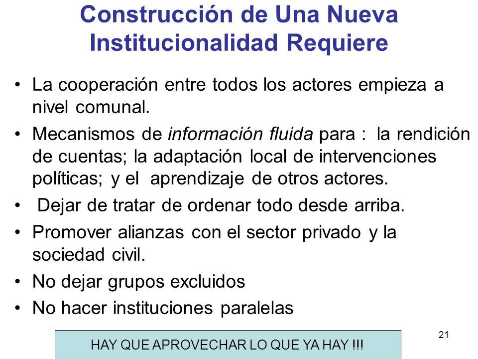 Construcción de Una Nueva Institucionalidad Requiere