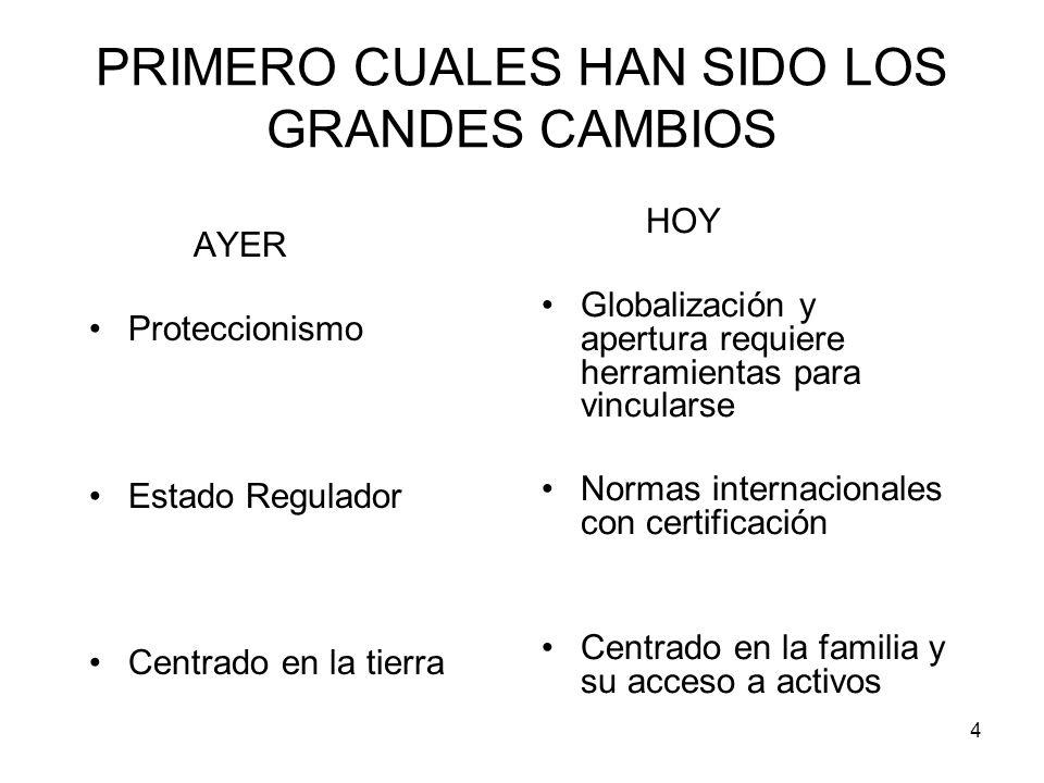 PRIMERO CUALES HAN SIDO LOS GRANDES CAMBIOS
