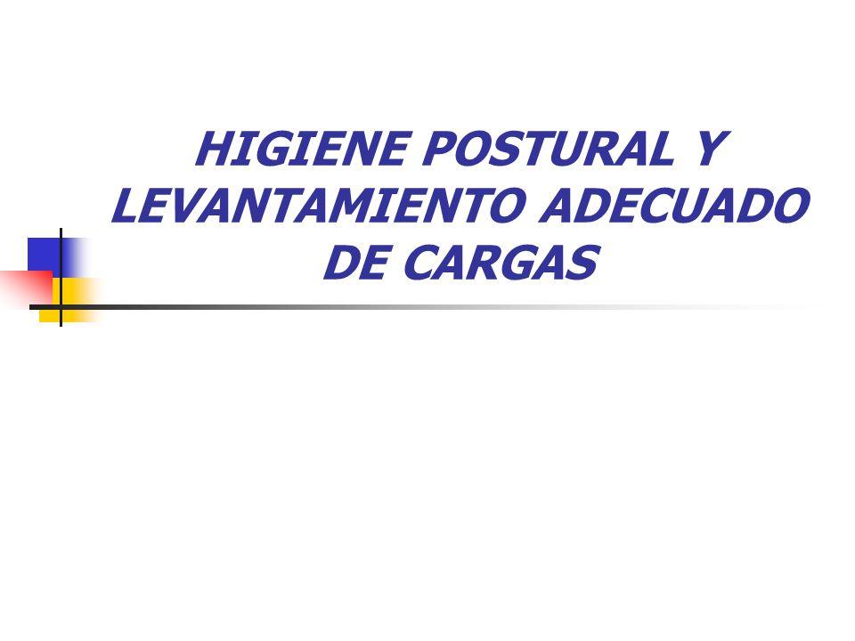 HIGIENE POSTURAL Y LEVANTAMIENTO ADECUADO DE CARGAS