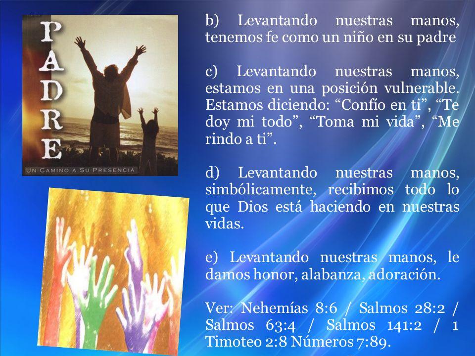 b) Levantando nuestras manos, tenemos fe como un niño en su padre