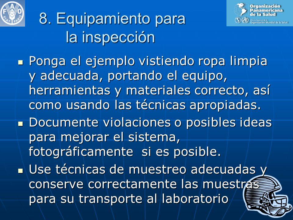 8. Equipamiento para la inspección