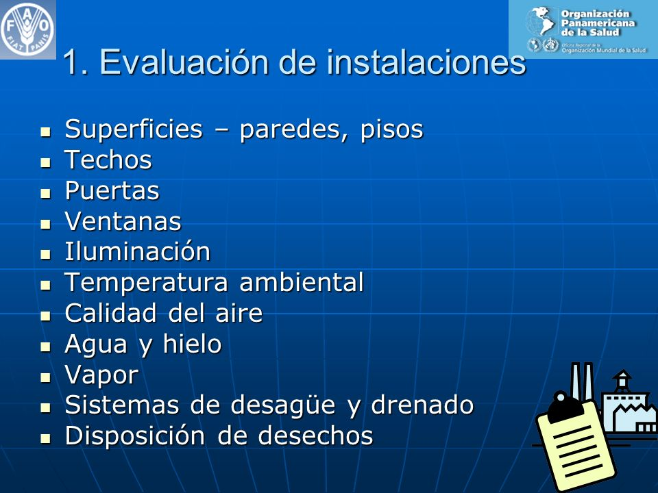 1. Evaluación de instalaciones