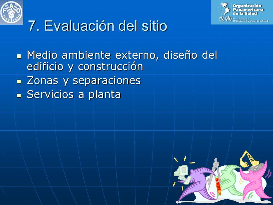 7. Evaluación del sitio Medio ambiente externo, diseño del edificio y construcción. Zonas y separaciones.