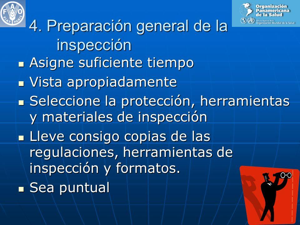 4. Preparación general de la inspección