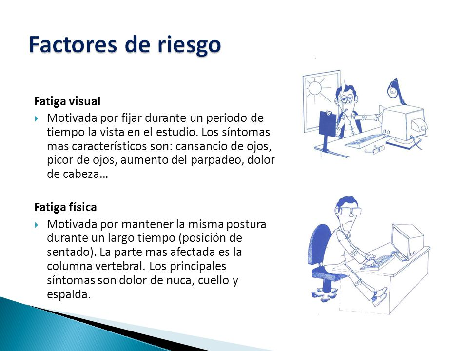 Factores de riesgo Fatiga visual