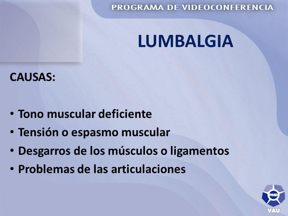 LUMBALGIA CAUSAS: Tono muscular deficiente Tensión o espasmo muscular