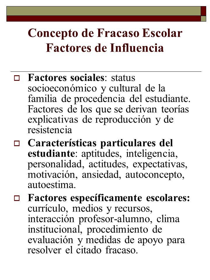 Concepto de Fracaso Escolar Factores de Influencia