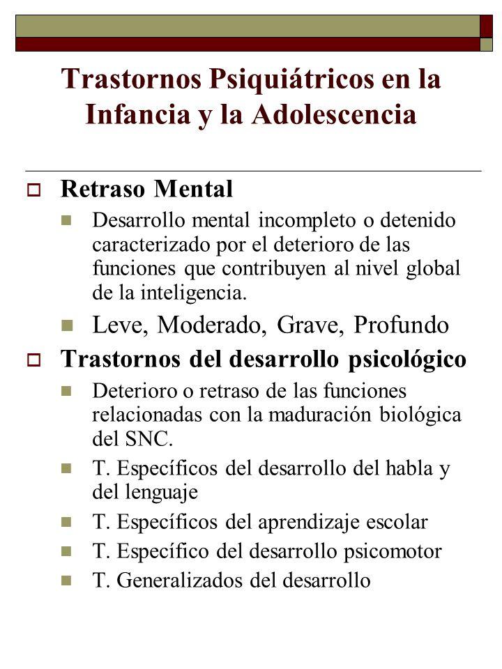 Trastornos Psiquiátricos en la Infancia y la Adolescencia