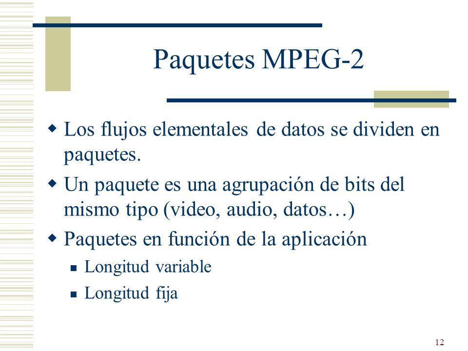 Paquetes MPEG-2 Los flujos elementales de datos se dividen en paquetes. Un paquete es una agrupación de bits del mismo tipo (video, audio, datos…)
