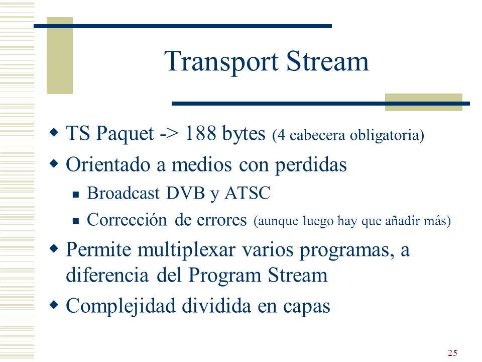 Transport Stream TS Paquet -> 188 bytes (4 cabecera obligatoria)