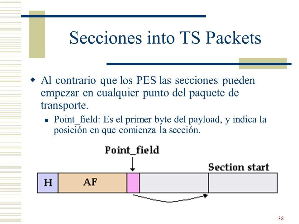 Secciones into TS Packets