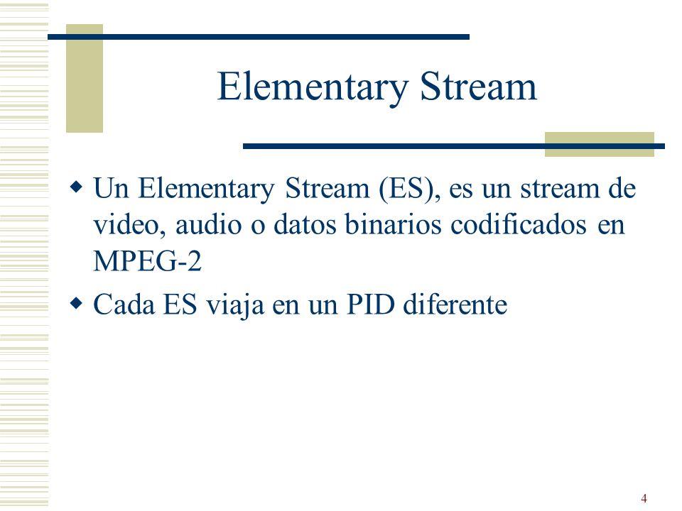 Elementary Stream Un Elementary Stream (ES), es un stream de video, audio o datos binarios codificados en MPEG-2.