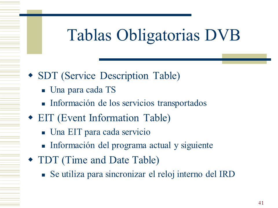 Tablas Obligatorias DVB