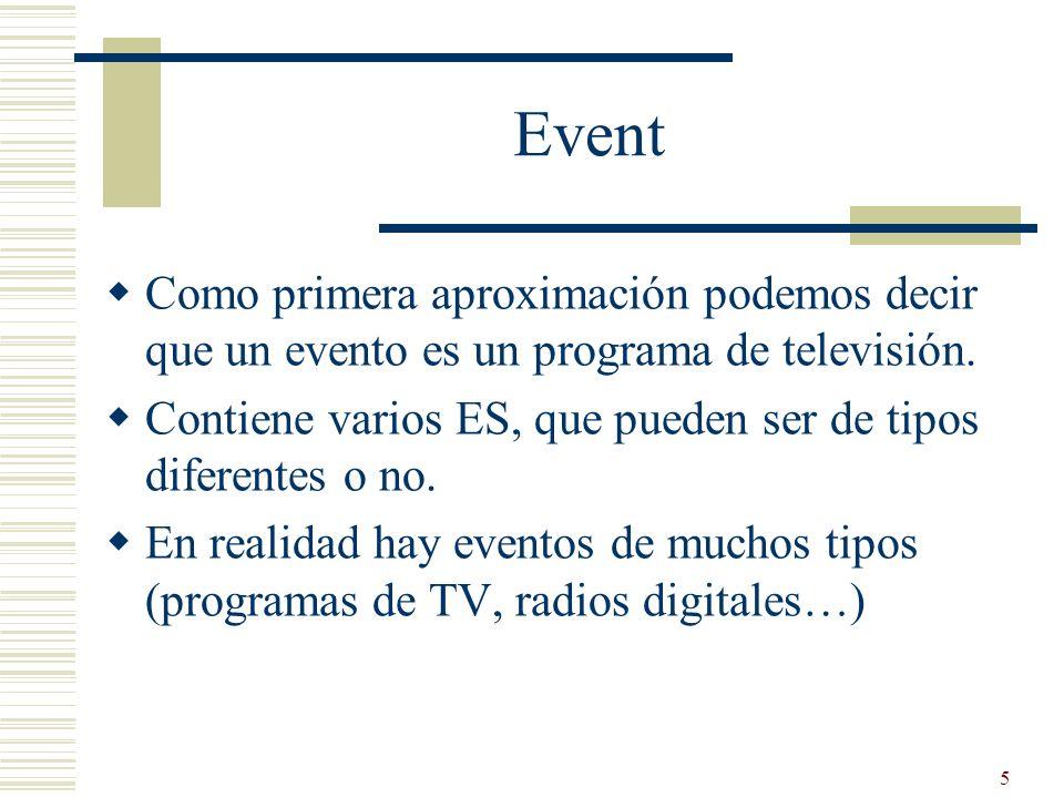 Event Como primera aproximación podemos decir que un evento es un programa de televisión.