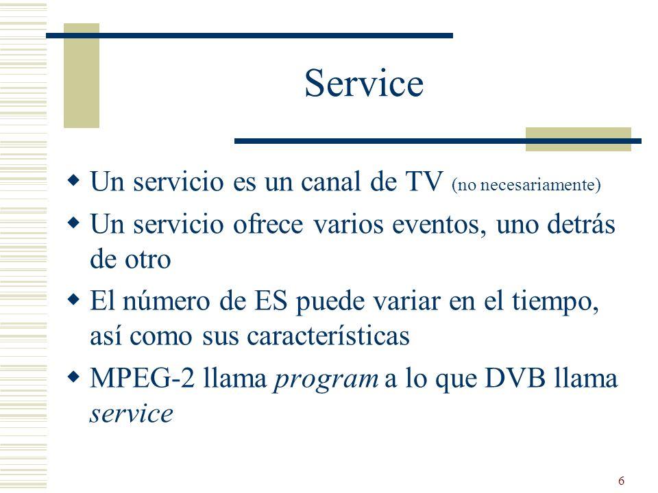 Service Un servicio es un canal de TV (no necesariamente)