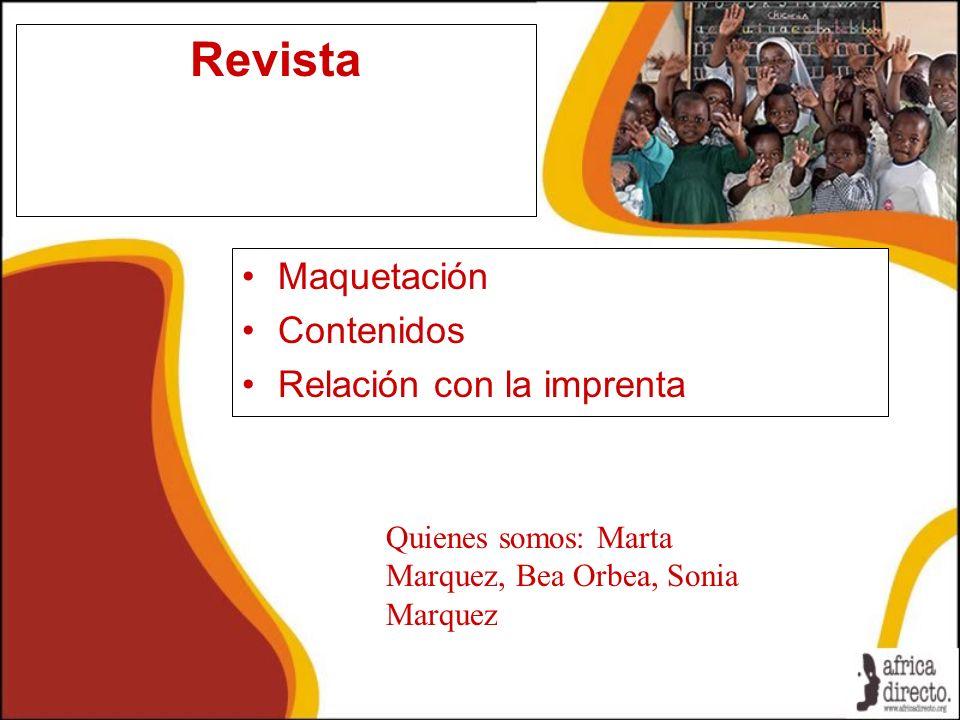 Revista Maquetación Contenidos Relación con la imprenta
