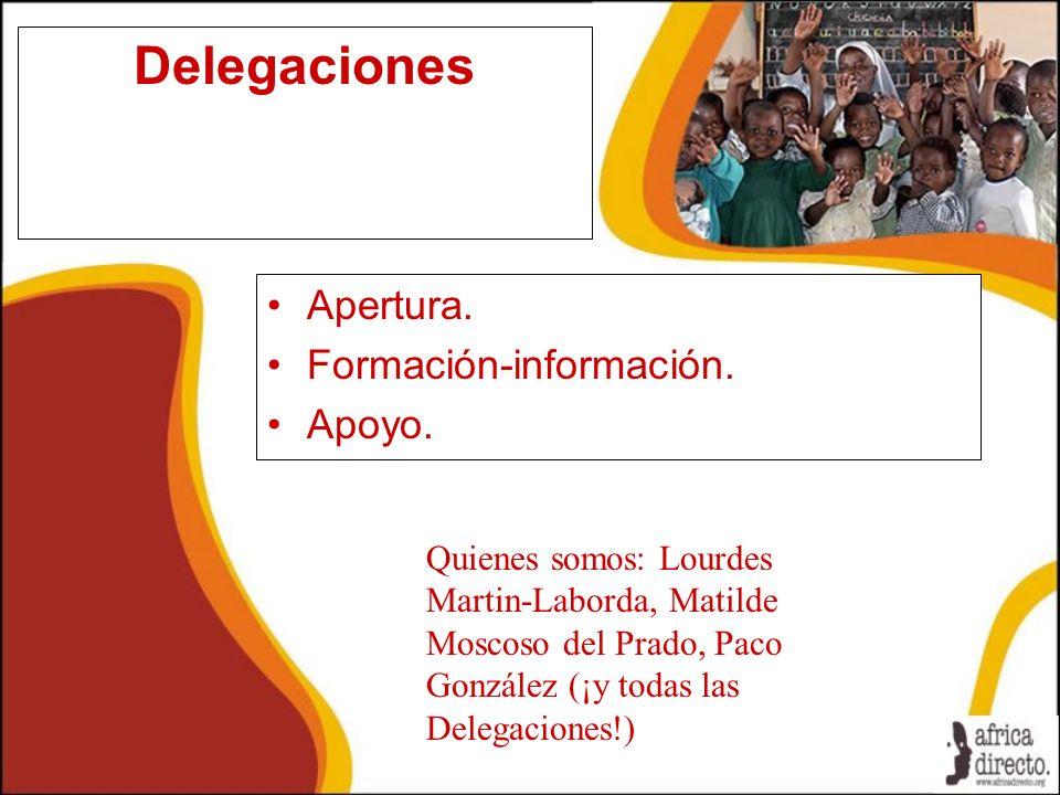 Delegaciones Apertura. Formación-información. Apoyo.