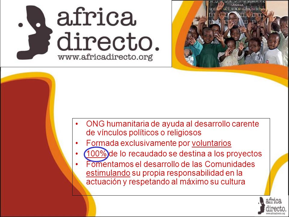 ONG humanitaria de ayuda al desarrollo carente de vínculos políticos o religiosos