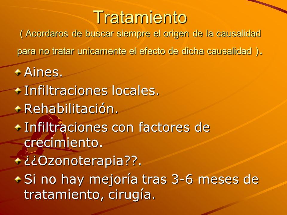 Tratamiento ( Acordaros de buscar siempre el origen de la causalidad para no tratar unicamente el efecto de dicha causalidad ).