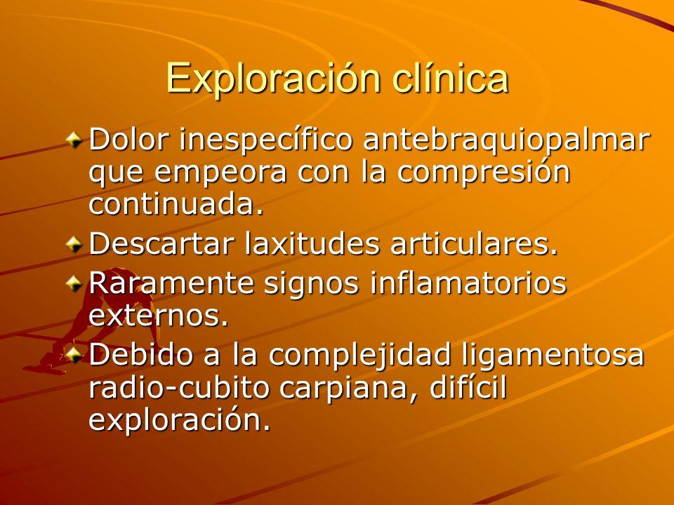 Exploración clínica Dolor inespecífico antebraquiopalmar que empeora con la compresión continuada. Descartar laxitudes articulares.