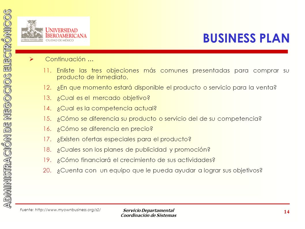 BUSINESS PLAN Continuación …