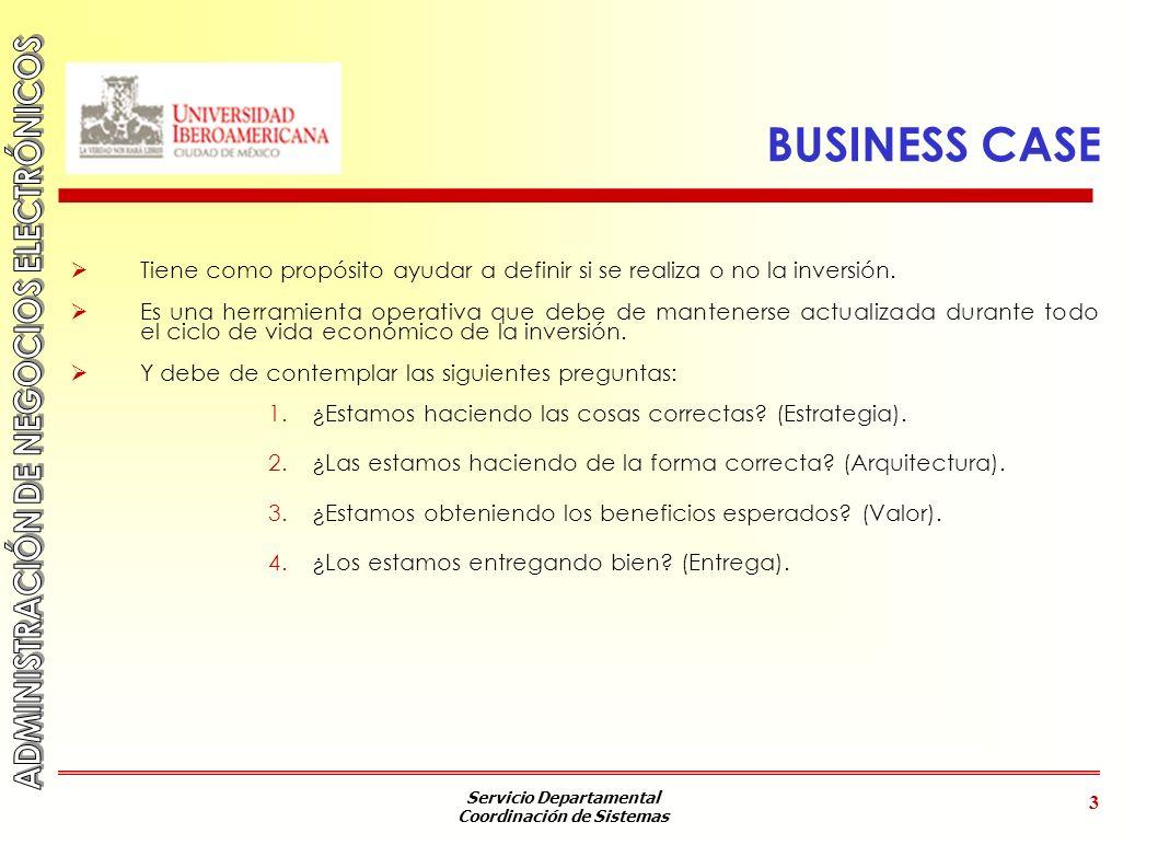 BUSINESS CASE Tiene como propósito ayudar a definir si se realiza o no la inversión.