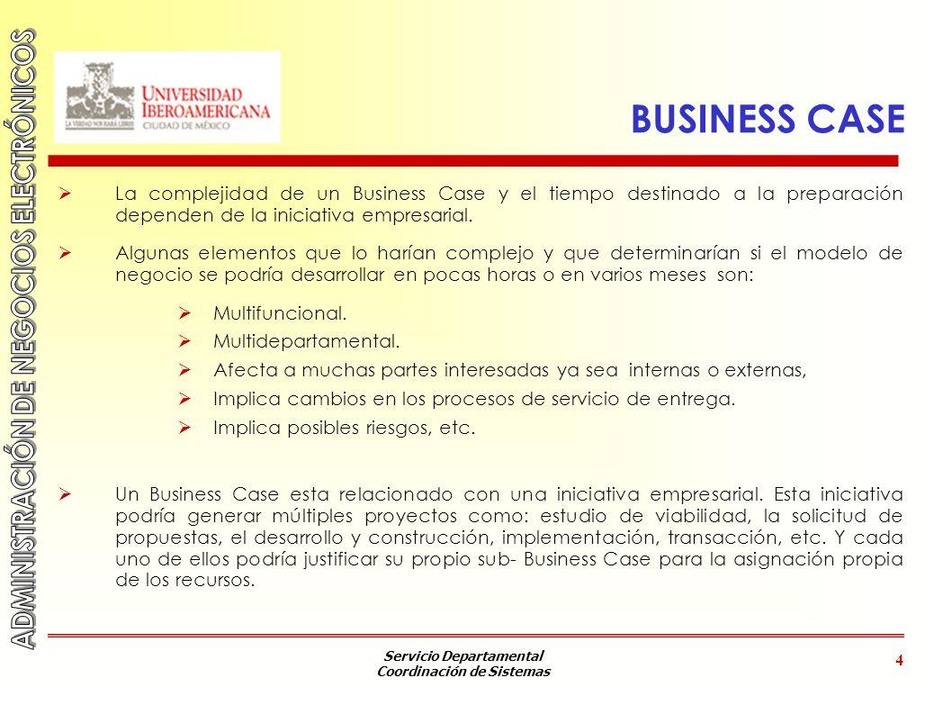 BUSINESS CASE La complejidad de un Business Case y el tiempo destinado a la preparación dependen de la iniciativa empresarial.