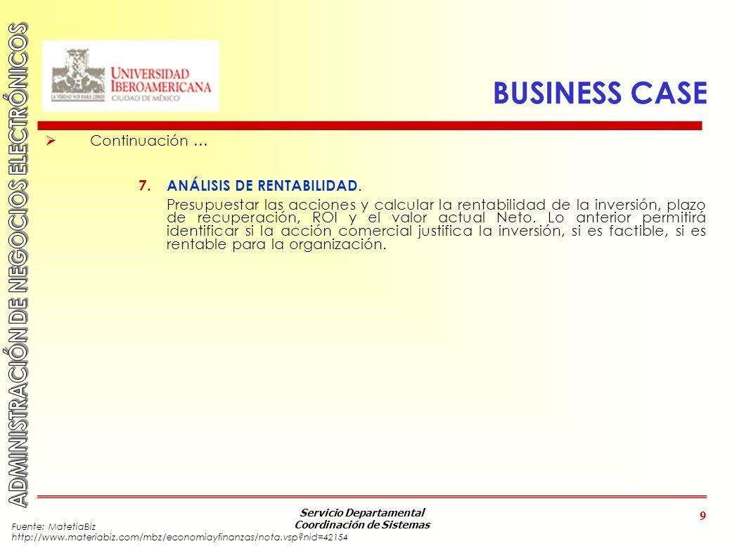 BUSINESS CASE Continuación … ANÁLISIS DE RENTABILIDAD.