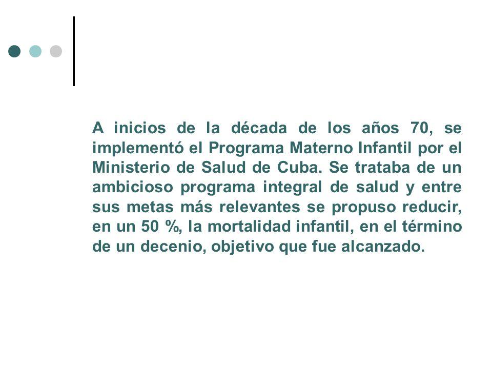 A inicios de la década de los años 70, se implementó el Programa Materno Infantil por el Ministerio de Salud de Cuba.