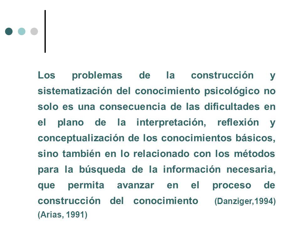 Los problemas de la construcción y sistematización del conocimiento psicológico no solo es una consecuencia de las dificultades en el plano de la interpretación, reflexión y conceptualización de los conocimientos básicos, sino también en lo relacionado con los métodos para la búsqueda de la información necesaria, que permita avanzar en el proceso de construcción del conocimiento (Danziger,1994) (Arias, 1991)