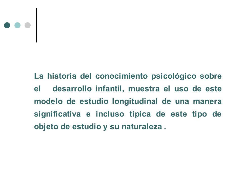 La historia del conocimiento psicológico sobre el desarrollo infantil, muestra el uso de este modelo de estudio longitudinal de una manera significativa e incluso típica de este tipo de objeto de estudio y su naturaleza .