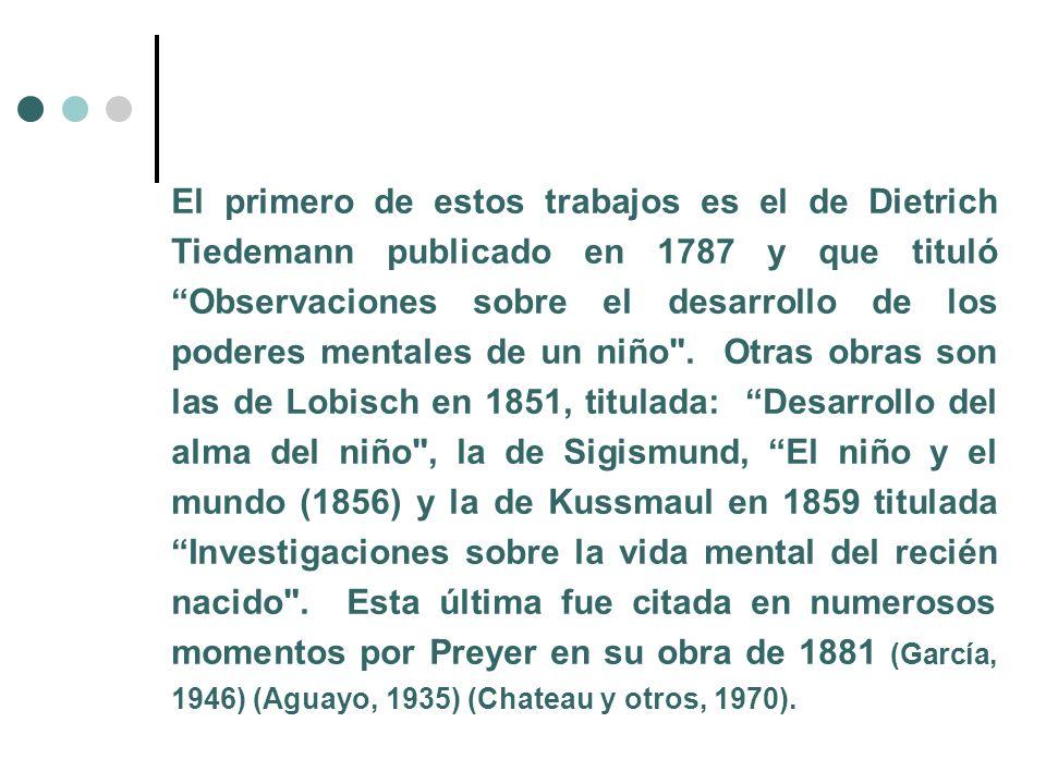 El primero de estos trabajos es el de Dietrich Tiedemann publicado en 1787 y que tituló Observaciones sobre el desarrollo de los poderes mentales de un niño .