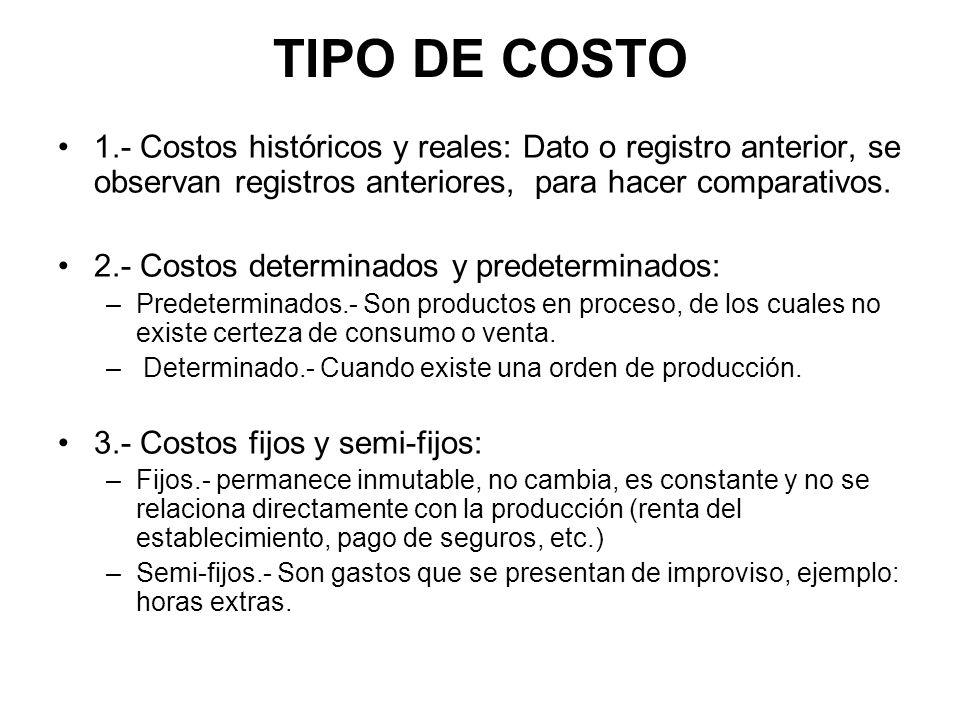 TIPO DE COSTO 1.- Costos históricos y reales: Dato o registro anterior, se observan registros anteriores, para hacer comparativos.